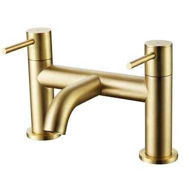 Vellamo Twist Brushed Brass Deck Mounted Bath Filler